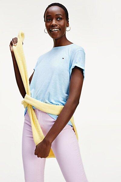 Tommy Hilfiger Kadın Bebe Mavisi Vıkkı Round-nk Top Ss T-Shirt  Ww0ww27906