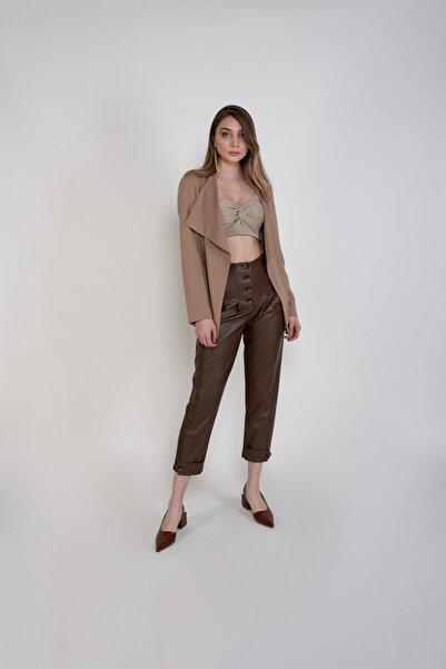 Sembol Kadın Kahverengi Düşük Yaka Hırka Görünümlü Ceket