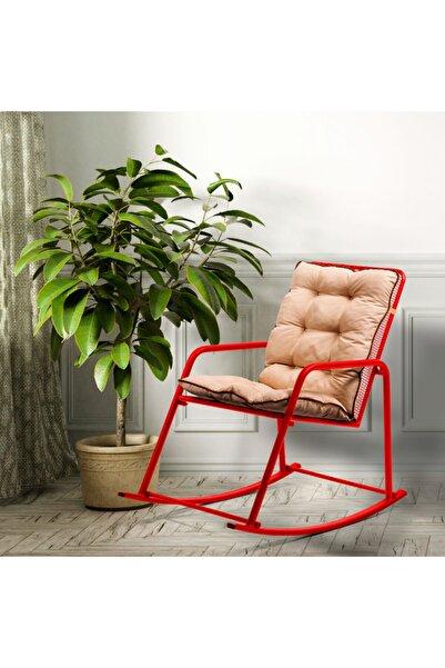 Retodesign Minderli Kırmızı Metal Sallanan Sandalye