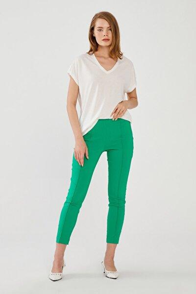Love My Body Kadın Yeşil Fermuarlı Tayt Pantolon