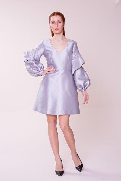 GIZIA CASUAL Kol Detaylı Gri Mini Elbise