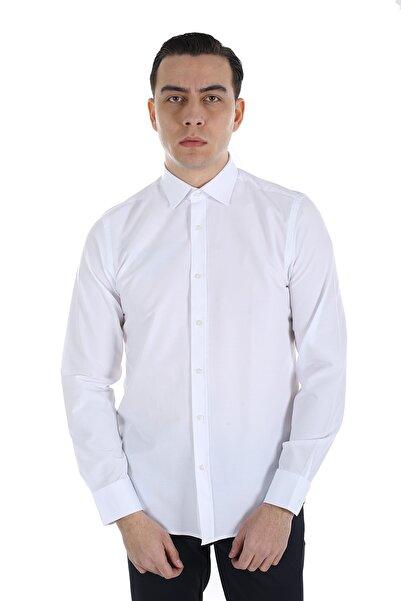 Diandor Erkek Beyaz Uzun Kollu Slim Fit  Gömlek 1912617
