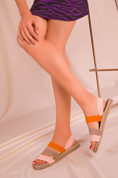 SOHO Pudra-Vizon-Turuncu Kadın Sandalet 15098
