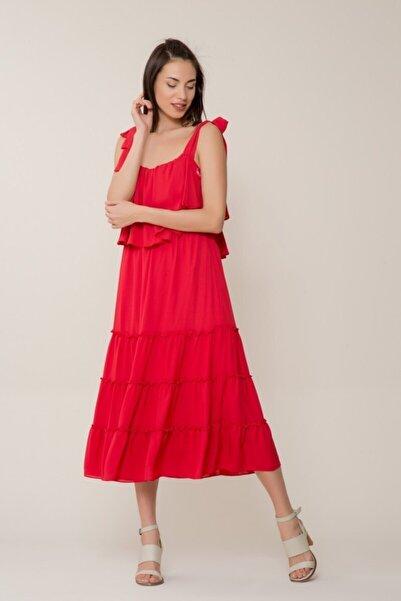 GIZIA CASUAL Kadın Fırfır Detaylı Kırmızı Midi Elbise M18YEW0851ORW