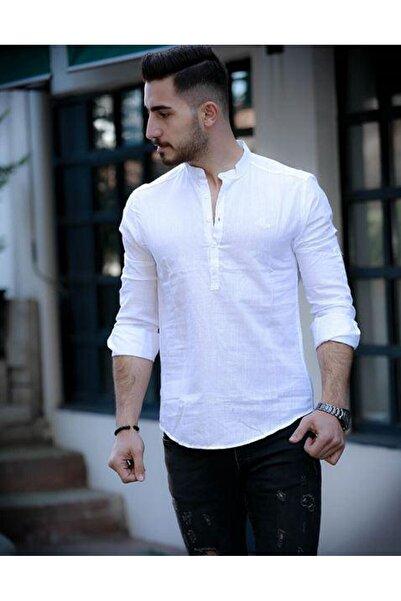 moda biz Erkek Beyaz Hakim Yaka Keten Ekstra Slim Fit Gömlek
