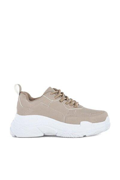 Laguna Kadın Spor Ayakkabı Yüksek Taban Sneaker Bej Adyu1801