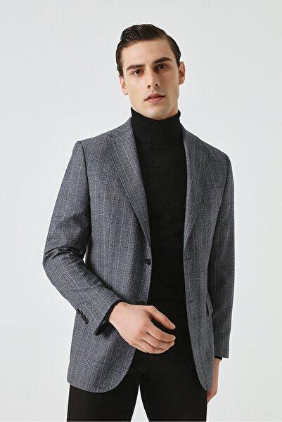 Damat Damat Regular Fit Mavi Desenli Kumaş Ceket