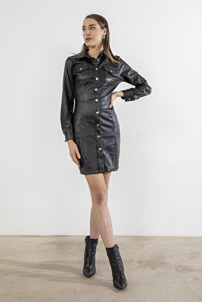 Foremia Kadın Siyah Cepli Deri Elbise