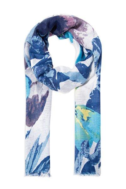 Mavi Kadın Mavi Çiçek Desenli Şal