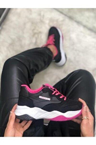 Ecık Siyah Kalın Taban Kadın Sneaker Ayakkabı