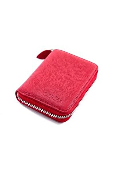 Fermuarlı Mini Hakiki Deri Cüzdan Kırmızı