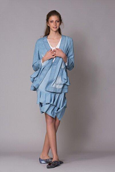 GIZIA CASUAL Kadın Bebek Mavisi Midi Etek M18YCW0021XPS