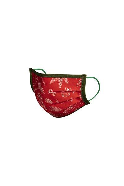 Maisonette 5 li Maisonette Yıkanabilir Pamuklu Yüz Maskesi Baskılı Kırmızı L Beden