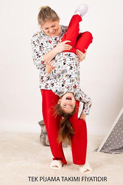armonika Kadın Kırmızı Anne Kız Model Eyfel Desenli Pijama Takımı ARM-21K001116