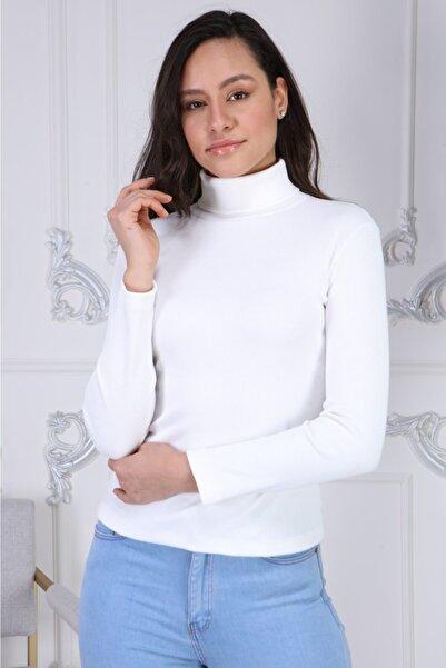 BENDİS Beyaz Boğazlı Yaka Kaşkorse Likralı Bluz