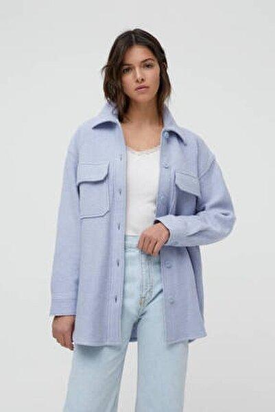Kadın Açık Mavi Cepli Dokulu Ince Ceket