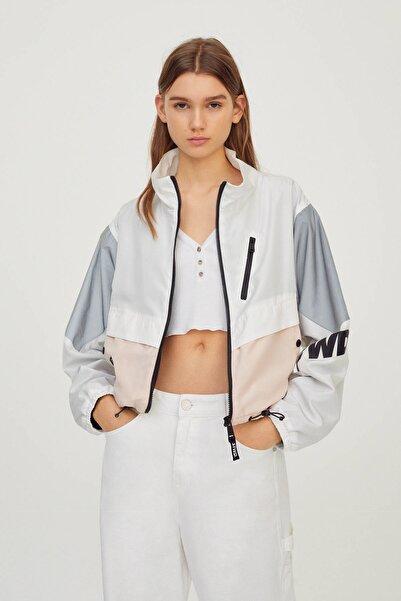 Pull & Bear Kadın Beyaz Blok Renkli Tasarım Ceket 04711305
