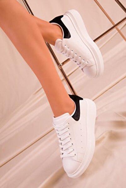 Beyaz-Siyah Kadife Kadın Sneaker 15732