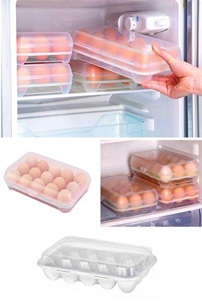 Helen's Home 15 Bölmeli Plastik Kapaklı Yumurta Saklama Kutusu