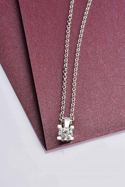 jelux silver Kadın Tek Taş Swarovski Taşlı Gümüş Kolye