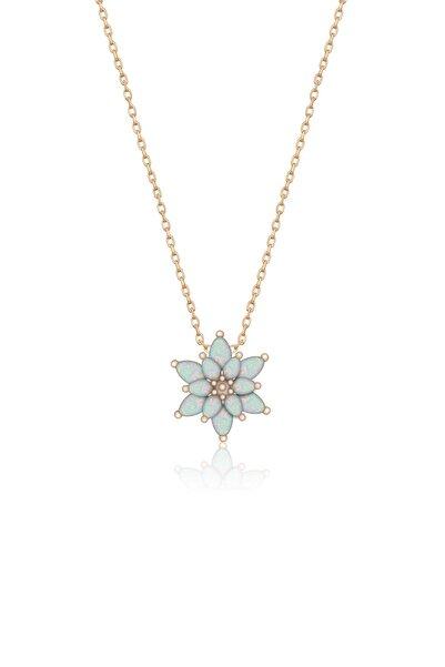 Papatya Silver 925 Ayar Gümüş Orjinal Beyaz Doğal Opal Taşlı Lotus Kolye