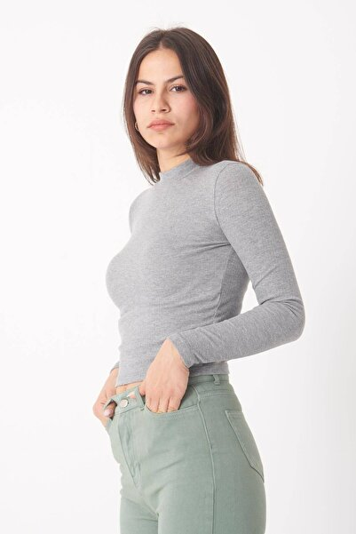 Addax Kadın Gri Melanj Uzun Kollu Bluz B1070 - U8 ADX-0000023027