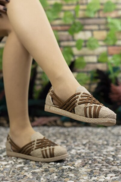Riccon Kadın Kahverengi Hasır Günlük Ayakkabı 0012or01