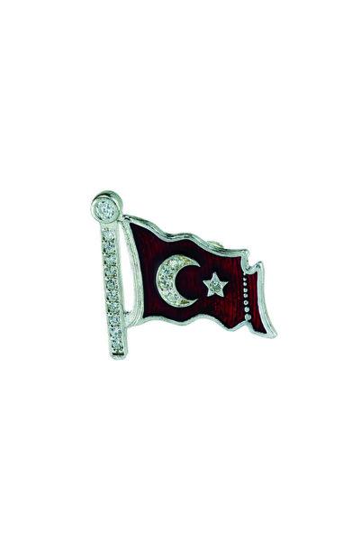 Gumush Unisex Kırmızı Türk Bayrağı Gümüş Rozet