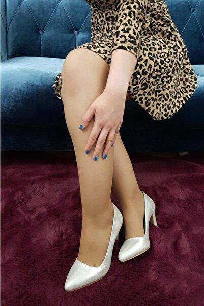 TREND Kadın Gümüş Renk Topuklu Ayakkabı