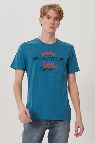 Lee Erkek Petrol Regular Fit Bisiklet Yaka T-Shirt