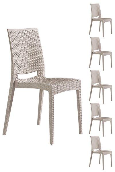SANDALİE 6 Adet Rattan Cappucino Sandalye / Balkon-bahçe-teras