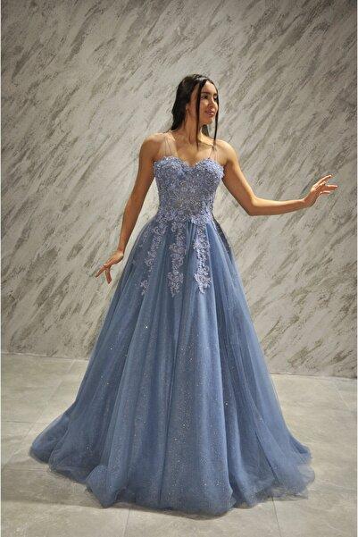 Denizli Gelinlik Dünyası Kadın İndigo Mavi Nişanlık Abiye