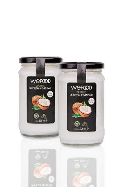 Wefood Organik Hindistan Cevizi Yağı 300 ml 2'li (Soğuk Sıkım)