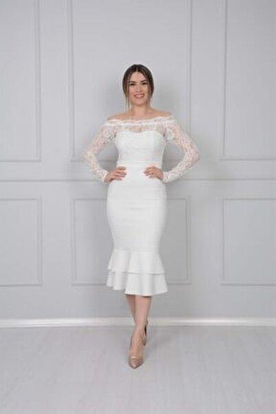 Üst Güpür Alt Scuba Eteği Volanlı Elbise - Beyaz