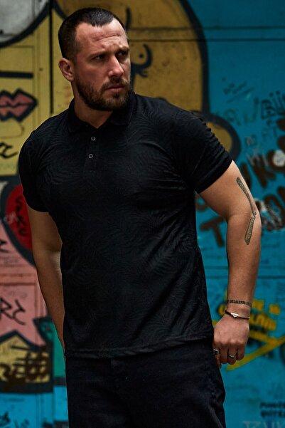 Karpefingo Erkek Siyah Desenli Polo Yaka T-Shirt