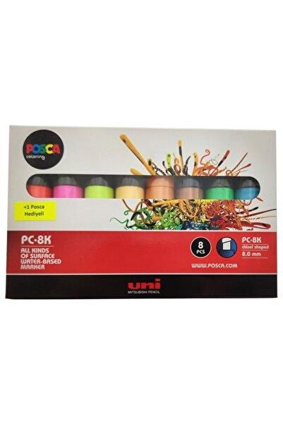 UNİ-BALL Uni Posca Pc-8k Su Bazlı Markör 7+1, 8mm - Florasan Renkler