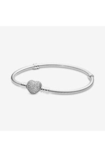 Pandora Charm Uyumlu Pave Taşlı Kalp Gümüş Bileklik