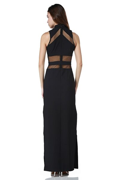 Bonalodi Kadın Siyah Uzun Lazer Kesim Dekolte Maxi Elbise