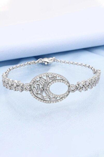 Else Silver Kadın 925 Ayar Gümüş Baget Taşlı Bileklik