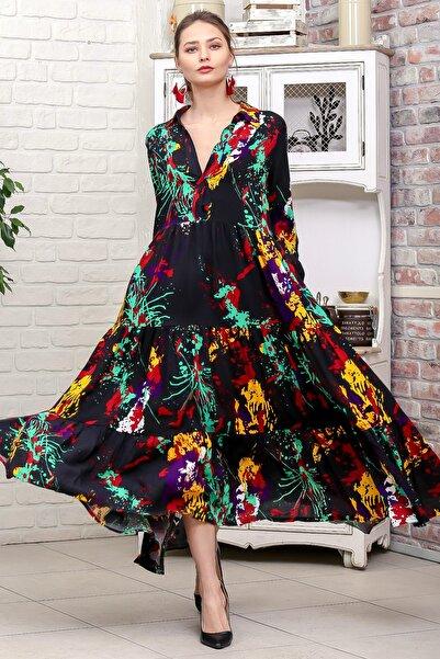 Chiccy Kadın Siyah Fırça Desen Gömlek Yaka Düğmeli Cepli Kloş Dokuma Elbise M10160000EL95928