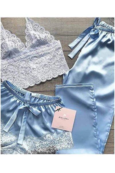 Çeyize dair herşey Dantel Büstiyerli Mavi Saten Şortlu Pijama Takımı 5217 S