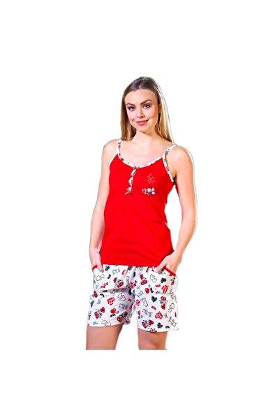 Çekmece Kadın Kırmızı Ip Askılı Şortlu Pamuklu Pijama Takım