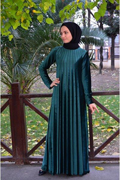 MODAMİNEM Kadın  Zümrüt Yeşili Piliseli Kadife Elbise