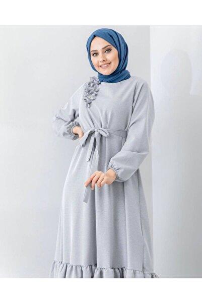 lamelif store Kadın Gri Omuz Detaylı Elbise