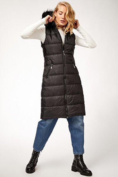 Bigdart Kadın Siyah Kapüşonlu Şişme Yelek 10233