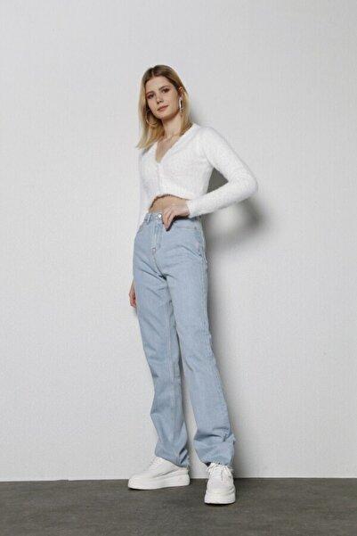 HOLLY LOLLY Kadın Buz Mavi Yüksek Bel Likrasız Straight Kesim Sagrado Jean