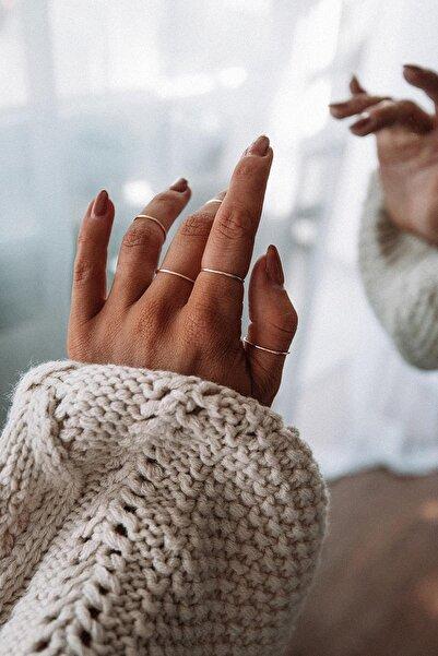 New Obsessions Kadın Altın Renk 5'li Minimal Eklem Yüzük Seti
