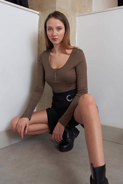 Addax Kadın Vizon Yakası Çıtçıtlı Bluz B1039 - W3 ADX-0000022787