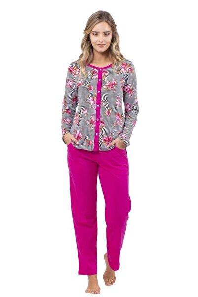 Çift Kaplan 7703 Zebra Desen Önden Açık Bayan Pijama Takım
