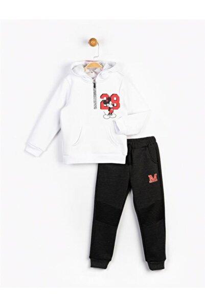 Mickey Mouse Erkek Çocuk Beyaz Mickey Kapüşonlu Takım 16247